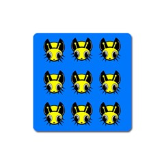Yellow and blue firefies Square Magnet