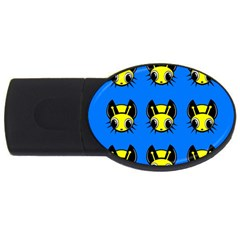 Yellow and blue firefies USB Flash Drive Oval (2 GB)