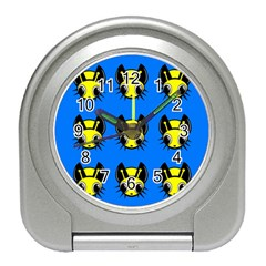 Yellow and blue firefies Travel Alarm Clocks