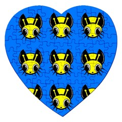 Yellow and blue firefies Jigsaw Puzzle (Heart)