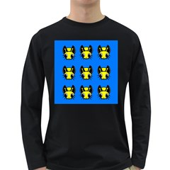 Yellow and blue firefies Long Sleeve Dark T-Shirts