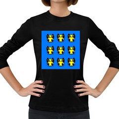 Yellow and blue firefies Women s Long Sleeve Dark T-Shirts