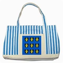 Yellow and blue firefies Striped Blue Tote Bag