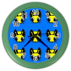 Yellow and blue firefies Color Wall Clocks