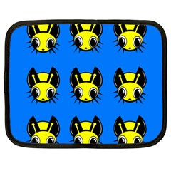 Yellow and blue firefies Netbook Case (Large)