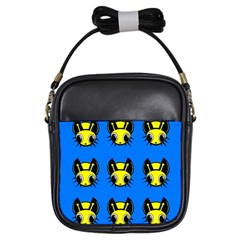 Yellow and blue firefies Girls Sling Bags