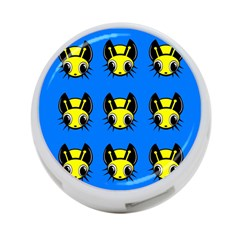 Yellow and blue firefies 4-Port USB Hub (One Side)