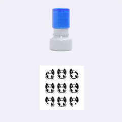 Yellow and blue firefies Rubber Round Stamps (Small)