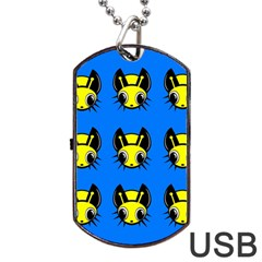Yellow and blue firefies Dog Tag USB Flash (Two Sides)