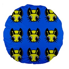 Yellow and blue firefies Large 18  Premium Round Cushions