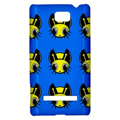 Yellow and blue firefies HTC 8S Hardshell Case