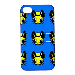 Yellow and blue firefies Apple iPhone 4/4S Hardshell Case with Stand