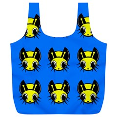 Yellow and blue firefies Full Print Recycle Bags (L)