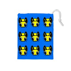 Yellow and blue firefies Drawstring Pouches (Medium)