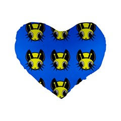 Yellow and blue firefies Standard 16  Premium Flano Heart Shape Cushions