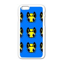 Yellow and blue firefies Apple iPhone 6/6S White Enamel Case