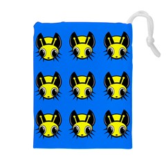 Yellow and blue firefies Drawstring Pouches (Extra Large)