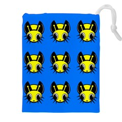 Yellow and blue firefies Drawstring Pouches (XXL)