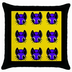 Blue and yellow fireflies Throw Pillow Case (Black)