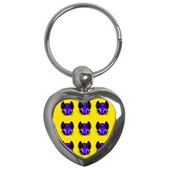 Blue and yellow fireflies Key Chains (Heart)