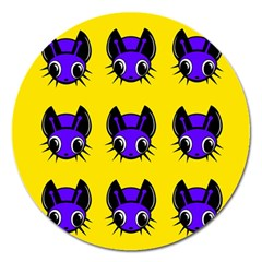 Blue and yellow fireflies Magnet 5  (Round)