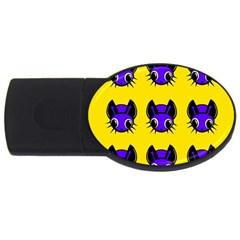 Blue and yellow fireflies USB Flash Drive Oval (4 GB)