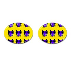 Blue and yellow fireflies Cufflinks (Oval)