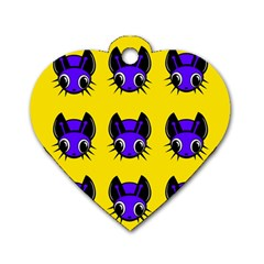 Blue and yellow fireflies Dog Tag Heart (Two Sides)