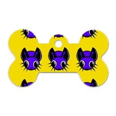 Blue and yellow fireflies Dog Tag Bone (One Side)