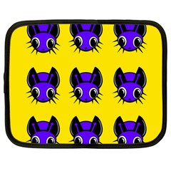 Blue and yellow fireflies Netbook Case (Large)