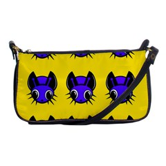 Blue and yellow fireflies Shoulder Clutch Bags