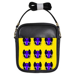 Blue and yellow fireflies Girls Sling Bags