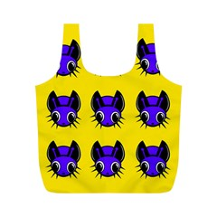 Blue and yellow fireflies Full Print Recycle Bags (M)