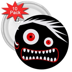 Crazy monster 3  Buttons (10 pack)