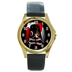 Zombie face Round Gold Metal Watch