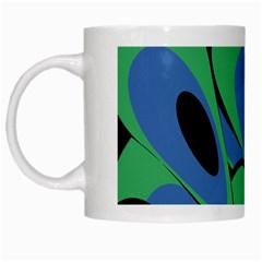 Peacock pattern White Mugs