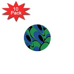 Peacock pattern 1  Mini Buttons (10 pack)