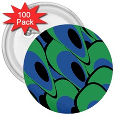 Peacock pattern 3  Buttons (100 pack)