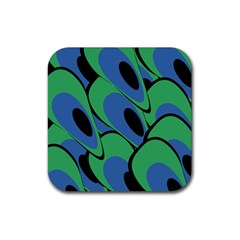 Peacock pattern Rubber Square Coaster (4 pack)