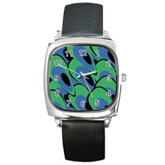 Peacock pattern Square Metal Watch