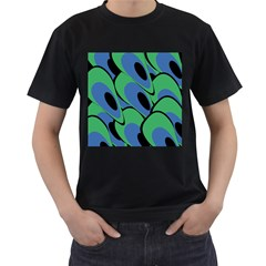Peacock pattern Men s T-Shirt (Black) (Two Sided)