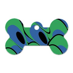 Peacock pattern Dog Tag Bone (Two Sides)