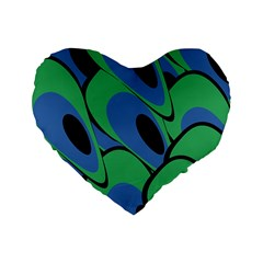 Peacock pattern Standard 16  Premium Heart Shape Cushions