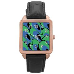 Peacock pattern Rose Gold Leather Watch