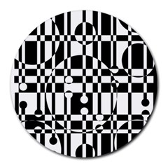 Black and white pattern Round Mousepads