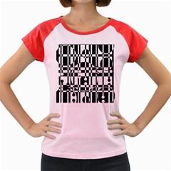 Black and white pattern Women s Cap Sleeve T-Shirt