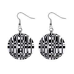 Black and white pattern Mini Button Earrings