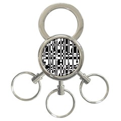 Black and white pattern 3-Ring Key Chains