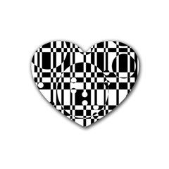 Black and white pattern Rubber Coaster (Heart)