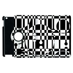 Black and white pattern Apple iPad 3/4 Flip 360 Case
